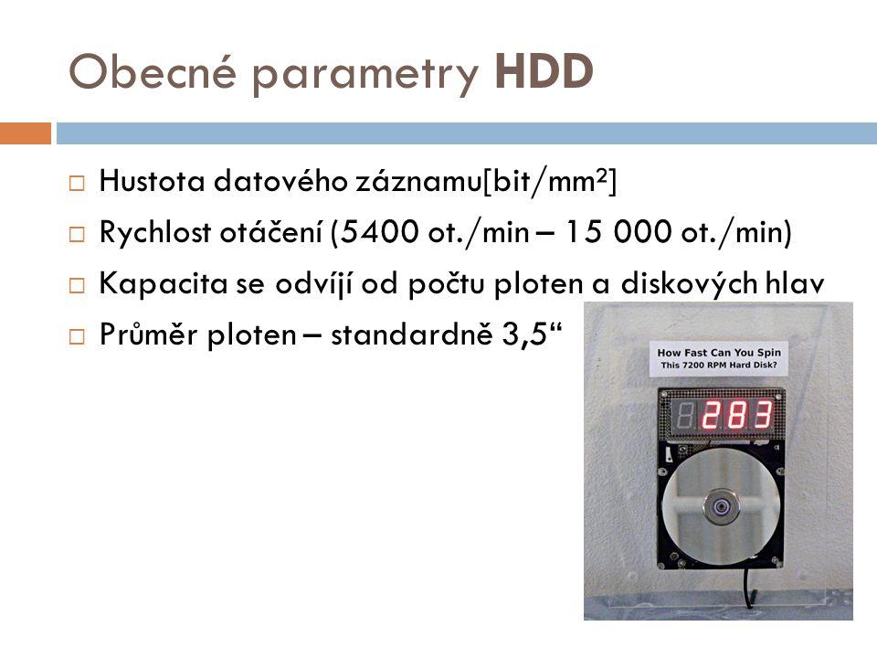 Obecné parametry HDD Hustota datového záznamu[bit/mm²]